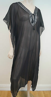 TARA MATTHEWS Black 100% Silk Silver Trim Sheer Kaftan Cover Up Beach Dress Sz M