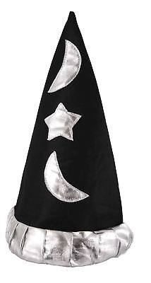 Childrens Mystical Plush Black & Silver Pointed Magical Wizard Hat