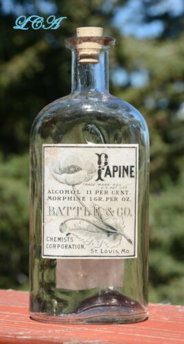 Antique PAPINE bottle w/pic OPIUM POPPY embossed BATTLE Co w/ MORPHINE