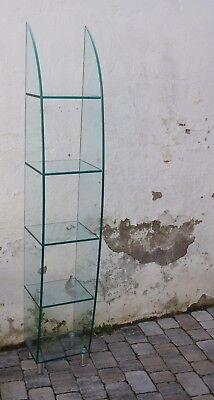 Glas Regal 2 Fächer Höhe 190cm grünl Flachglas 5 Böden gebogene Wände/Sichelform ()
