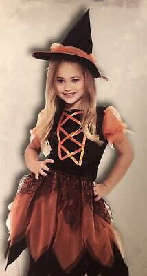 Pumpkin Patch Witch Girls Halloween Costume M (7-8) with Dress and