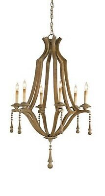 Currey & Company Simplicity Chandelier Washed Wood Currey Wood Chandelier