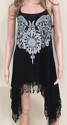 Vocal Apparel Tunic / Dress / Coverup with Rhinestone Detail Black Made In USA ()