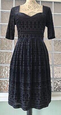 MEADOW RUE ANTHROPOLOGIE Midnight Blue Velvet Geo Burnout Print Stretch Dress S