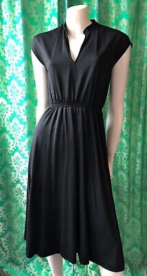80s Dresses   Casual to Party Dresses Vintage 70s 80s SUPERSET Black Polyester Dress with Drawstring Shoulders XS-S-M $33.02 AT vintagedancer.com