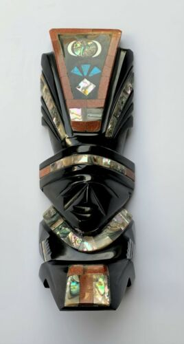Mexican Aztec Mayan Hand Carved Black Obsidian Mask With Gemstone Inlay Sun God
