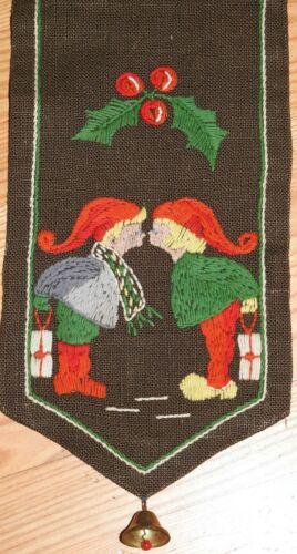 Hand embroidered Swedish Bell Pull - Vintage - Elves Kissing