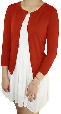 Women 3/4 Sleeve Fitted Crew-Neck Vintage  Soft Knit Basic Cardigan Sweater