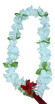 Hawaiian Lei Party Luau Floral Princess Plumeria Silk Dance Flower White Green D (Princess Lei)