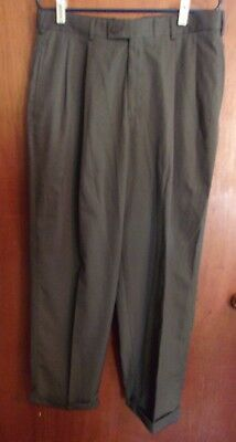 Savane Men's Dress Pants 34/30 Gray Pleated Two Front & Two Back Pockets #22 ()