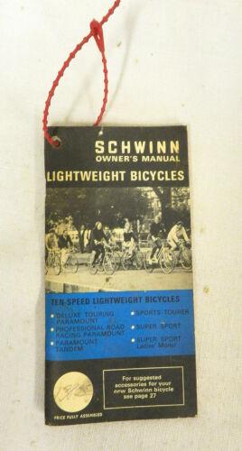 VINTAGE SCHWINN LIGHTWEIGHT BICYCLES OWNERS MANUAL