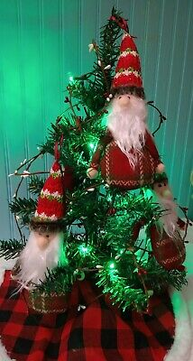 Gnome Mini Christmas Tree Bundle 1 Tree/1 Lights/ 2 Garland/ 1 Skirt/ 5 Gnomes