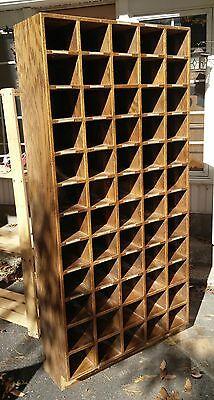 Vintage Oak Pigeon Hole Storage Cabinet