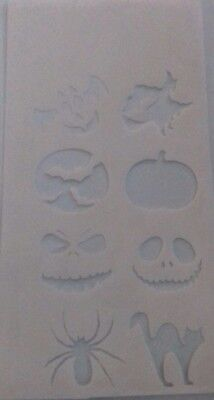 2 x Halloween face painting stencil sheet jack pumpkin bat cat spider witch  - Face Painting Spider Halloween