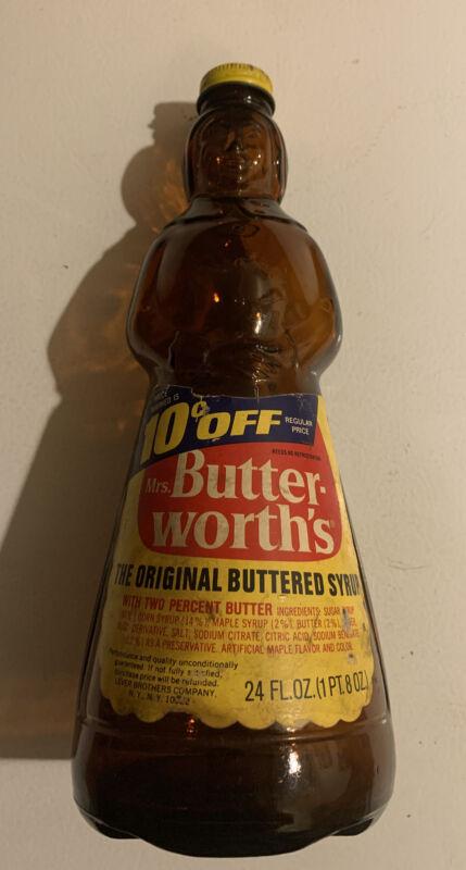 Vintage 1970 Empty Mrs Buttersworth Maple Syrup Paper Label  24 Oz Glass Bottle