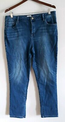 LOGO Lori Goldstein Distressed 5-Pocket Jeans Dark Wash 14 A281117 Logo Pocket Jean