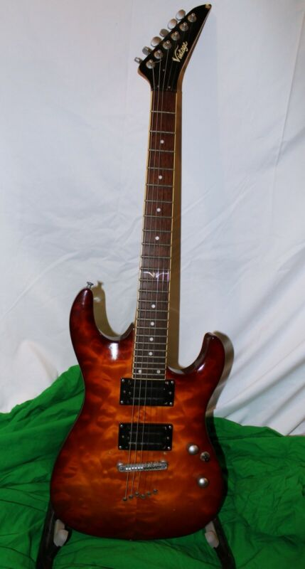 Vintage Stratocaster Electric Guitar Red Flame Burn