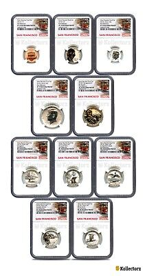 2018 S REVERSE PROOF 50TH ANNIV. 10-COIN SET NGC PF70 FIRST RELEASES