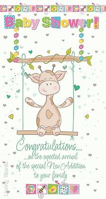Giraffe Swing - Baby Shower Congratulations Giraffe Swing Design New Baby Birth Greeting Card