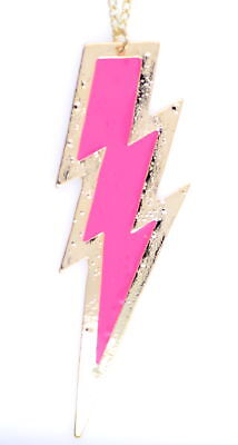 Chain necklace neon pink and gold tone Tampa Bay Lightning logo. Ice hockey - Neon Pink Necklace