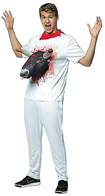 Halloween Running Apparel (ADULT RUNNING WITH THE BULLS 3D ATTACK SHIRT FUNNY PARTY COSTUME)