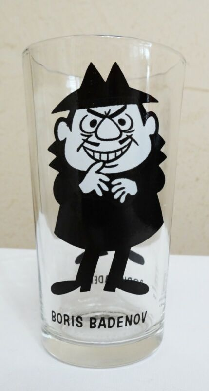 Vintage Pepsi glass Boris Badenov Bullwinkle villain collectible series Pat Ward