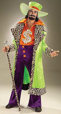 Pimp Daddy Costume Mens (Mens Biggest Daddy Pimp Costume Leopard Trim Jacket Disco 1970's )