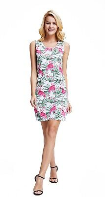 White Luau Dress (Hawaii Hangover Women's Hawaiian Luau Fitted Tank Dress Flamingo In)