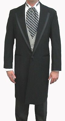 Black Oscar dela Renta Wool Western Long Knee Length Duster Frock Coat Mens Boys](Boys Wool Suits)
