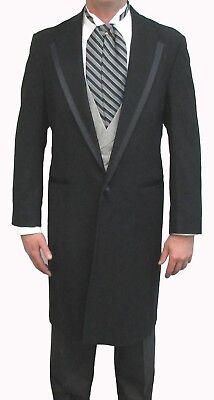 Black Oscar dela Renta Wool Western Long Knee Length Duster Frock Coat Mens - Boys Wool Suits