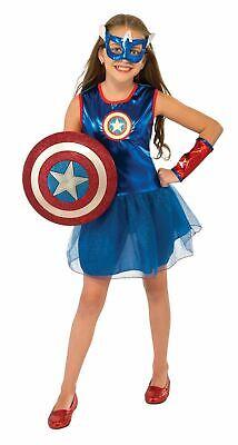 Captain America Girls Costume New Kids Child Dress Super girl Hiro Fancy  - Captain America Costume For Girl