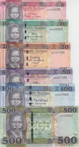 South Sudan banknote P. set 5-10-20-50-100-500 Pounds 2015-18, The Set, UNC