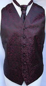 Mens-Black-Burgundy-Swirl-Waistcoat-w-wo-Cravat-Tie-Bowtie-from-21-75-to-23-75