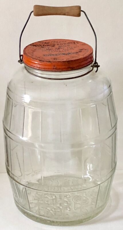 Antique LARGE Glass BARREL General Store WILSON Advertising JAR STORAGE CANISTER