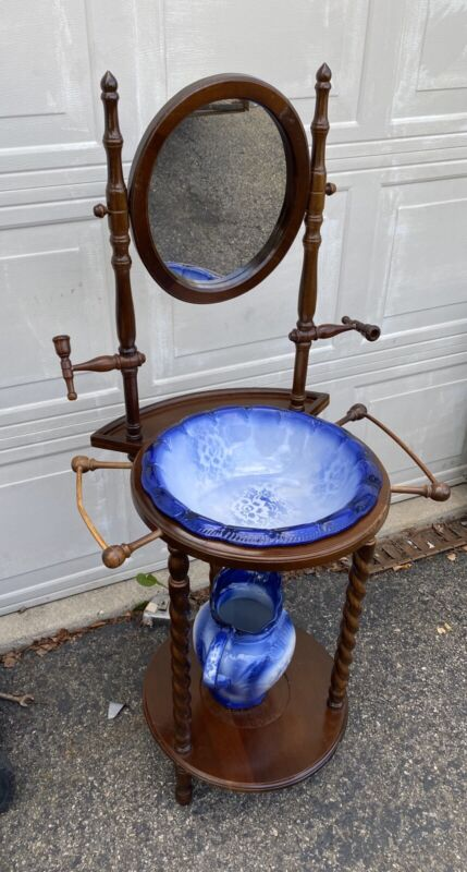 Vintage Wash Ceramic Basin And Pitcher With Mirror Wooden Stand