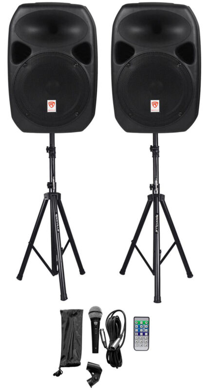"""Rockville RPG122K 12"""" Portable PA System 2 Powered Speakers Bluetooth+Mic+Stands"""
