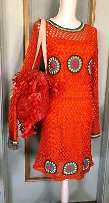 NWT Zara Orange Crochet Dress Size L With Matching Bag