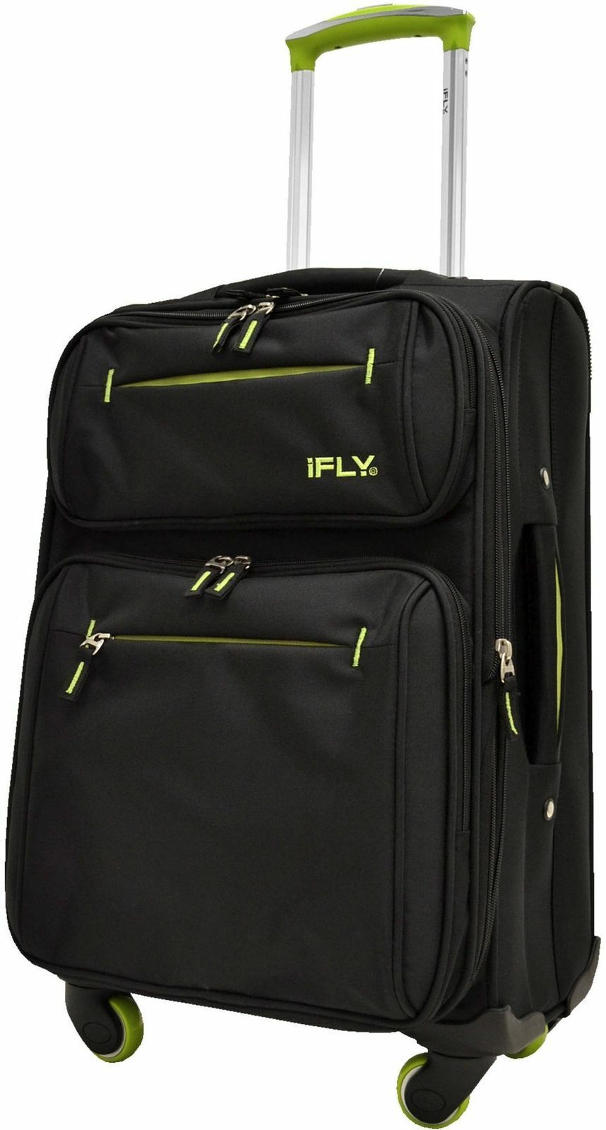 IFLY Soft Sided Luggage Accent 20 , Black And Green Suitcase Carry-On 20a  - $66.50
