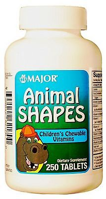 Major Childrens's Chewable Vitamins Animal Shapes 250ct