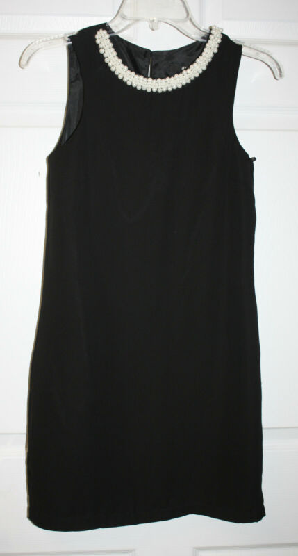 Womens Ladies NWT H&M Black Faux Pearl Neckline Sleeveless Dress Size 2