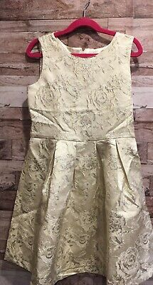 THE CHILDRENS PLACE SLEEVELESS SILVER METALLIC JACQUARD KNIT TO WOVEN DRESS 10