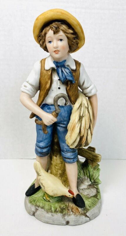 Vintage HOMCO #8881 Porcelain Figurine Farm Boy - Wheat/Hand Sickle & Chicken