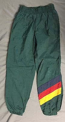 Vintage 80s 90s Body Ragz Green Wind Lined Pants Nylon Kids Size Small 8