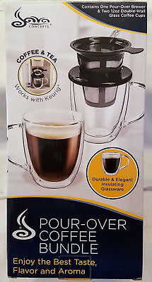 Pour-Over Coffee and Tea Brewer With 2 Mugs Works with Keurig