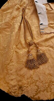 Silk Brocatelle, Antique French 1900c Bed Curtain Hanging with Original Tassels