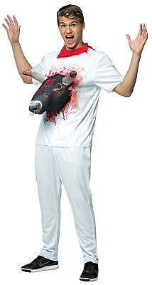 Red Neck Costume (Bull 3D Attacks Tee Adult Costume White Shirt With Red Neck Kerchief)