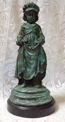 Painted Spelter Figure Of A Young Girl Fruit Seller Kate Greenway On Marble Base
