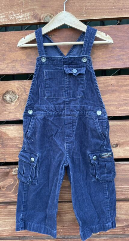 Polo Ralph Lauren Bear Blue Cargo Corduroy Overalls Boys Size 24 Months