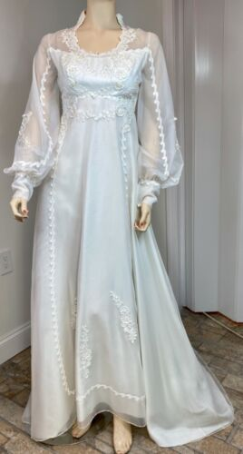 Lovely Vintage Beaded White Chiffon Victorian Style Wedding Dress Bust 32 NOS