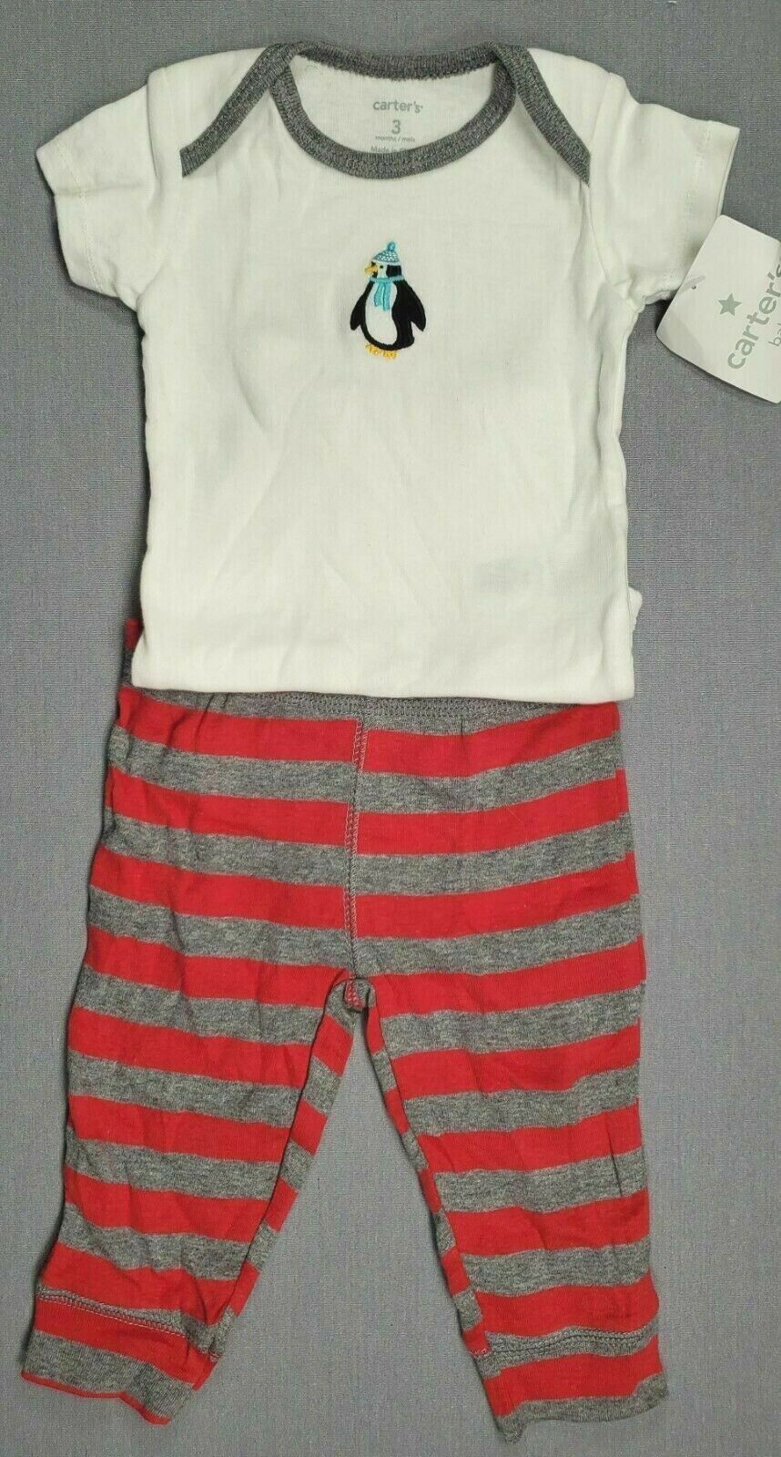 Baby Boy Clothes New Vintage Carter's 3 Month 2Pc Penguin Outfit